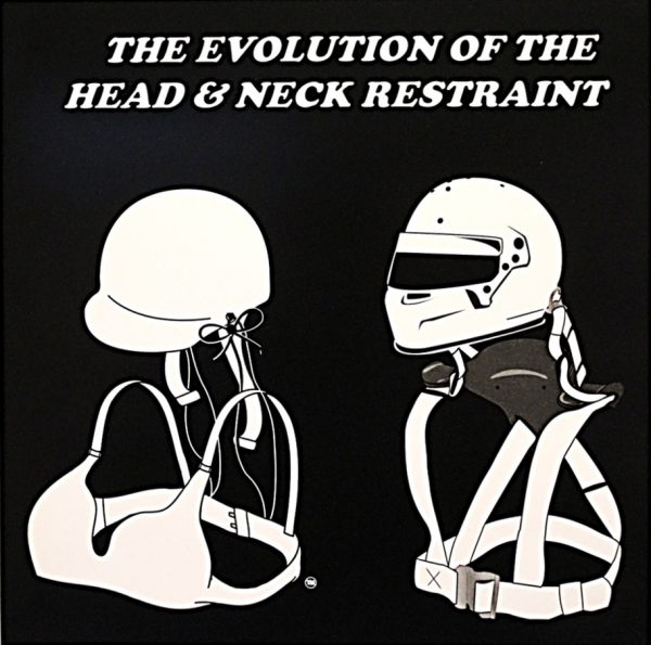 The Evolution of the Head and Neck Restraint Poster (Black Background)