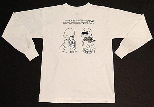 The Evolution of the Head & Neck Restraint Long Sleeve T-Shirt (White)