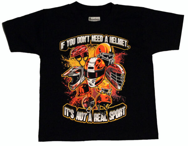 Helmets Children's T Shirt (Black) - Front